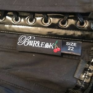 Dolls Kill Tops - Burlesque Faux Leather Strawberry Lace Up Corset